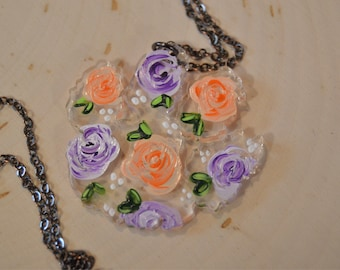 Floral Painted Tiger Paw Pendant Necklace, Acrylic, laser cut, painting, acrylic painting, artist, flowers, roses, floral, handpainted