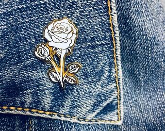 White Rose Enamel Pin