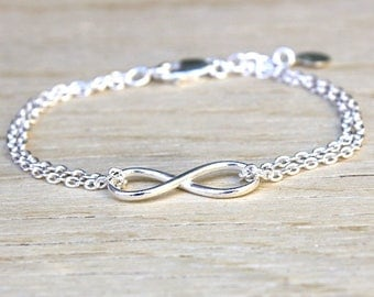 Sterling Silver infinity bracelet double chain