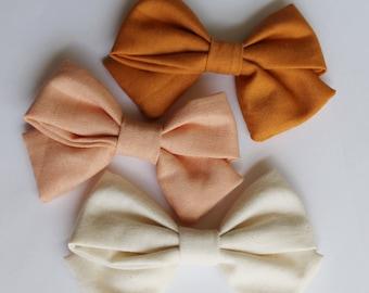 Pink, Cream & Burnt Orange Bow Set (3 bows).  Fall Bows, Thanksgiving Bows, Halloween Bows. Neutral Bow. Nylon headband, clips.