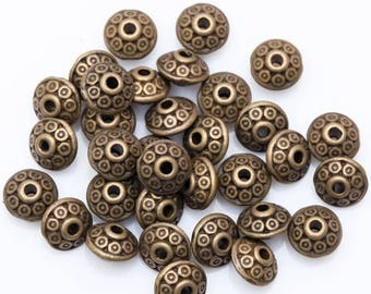 100pcs Antique Bronze tone Spacer Beads  6mm