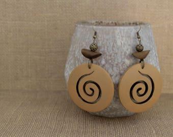 Earrings / Wood Earrings / Hand Painted Wood Earrings