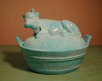 COW Blue Milk Glass Covered Dish