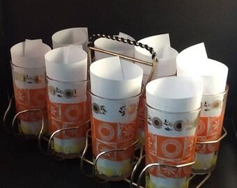 MidCentury Modern Retro Set of 8 Drinking Glasses in Caddy ~ Orange Gold Yellow Design