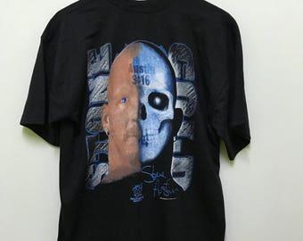 vintage unworn 90s 1997 stone cold steve austin other side jackass! wwf wrestler big image promo t-shirts