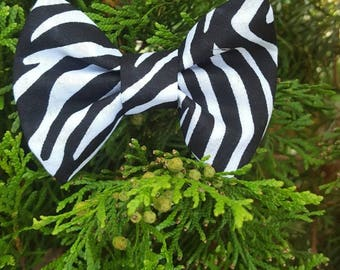 Zebra dog bowtie