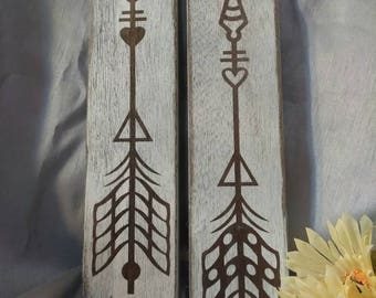 Set of two painted and white washed Arrows