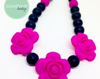 Little Girl - Silicone Necklace - 3 Flowers black and fuschia  - Toddler Necklace - Jewlery for Girls - safe for kid necklace - chewable