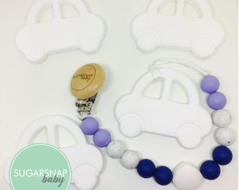 Silicone white Car Teether and pacifier clip - chew toy - sensory toy - toddlers - pacifier clip - soother - silicone beads - car - newborn