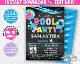 INSTANT DOWNLOAD / Birthday Invitation / Pool / Waterslide / Swimming / Summer / Party Beach Invite Girl pink Purple Teal Chalkboard BDP3