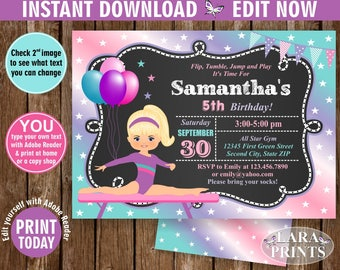 INSTANT DOWNLOAD / Birthday Invitation / Gymnastics Invitation / Gymnastic Invite Girl Pink Purple Aqua Purple Chalkboard you edit now BDG2