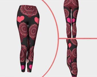 Funky heart leggings, Valentines day leggings, Love leggings, Heart leggings