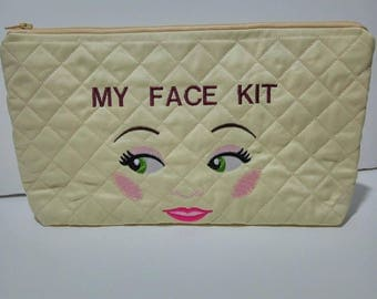 Large embroidered make up bag