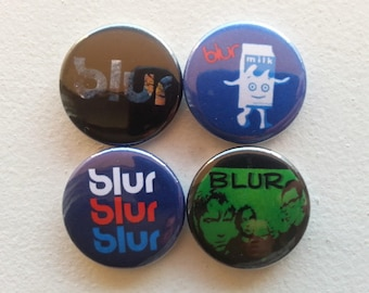 "4 x Blur 1"" Pin Button Badges ( English rock Damon Albarn )"
