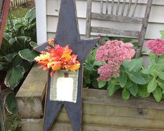 Tall Black wooden Star with hand painted Pumpkin bag