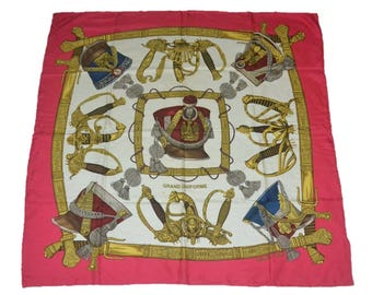 Authentic HERMES Scarf 100% Silk GRAND UNIFORME Red Multi-Color