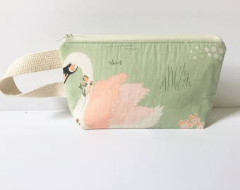Small Zipper Pouch, Mini Wristlet, Mini Clutch, Notions Pouch, Makeup Bag, Organic Zipper Bag, Swan Bag, Green Makeup Bag, Organic Pouch