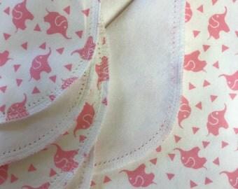 Pink elephant hemstitched flannel receiving baby blanket crochet kit