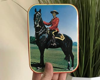Vintage Canadian Royal Mounties Tin | Canada Gift Trinket Jewelry Box
