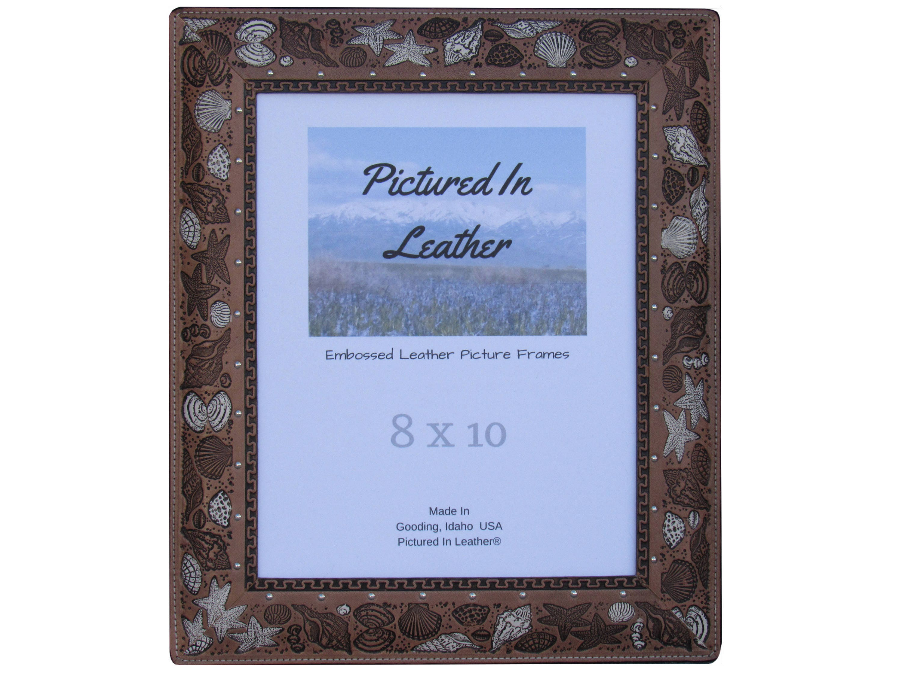 8x10 leather photo frame beach picture frame seashell picture 8x10 leather photo frame beach picture frame seashell picture frame nautical picture frame shell picture frame leather seashell decor jeuxipadfo Images