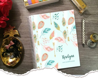 Small Size - Horizontal Monthly & Weekly Planner - Pastel Summer - 1 Year Planner 2017 - 2018