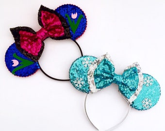 The Sisters - Handmade Frozen Anna or Elsa inspired Mouse Ears Headband