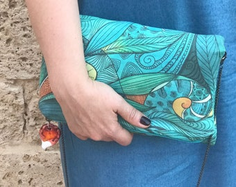 Flying Fish clutch faux suede limited edition handbag turquoise fabric unique