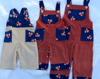 Size 00, size 1, Size 3 Corduroy overalls with foxes