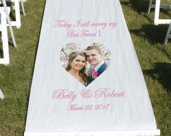 Personalized Photo Wedding Aisle Runner-3-Feet by 100-Feet Adhesive tape included, Love story Aisle runner, Elegant Aisle runner, Floral