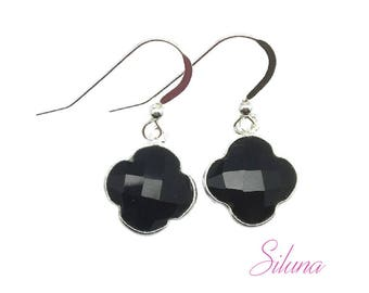 Earrings dangling clover 925 sterling silver and black onyx