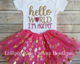 Hello World I'm (name) hot Pink & Gold *vinyl* top amd/or tutu