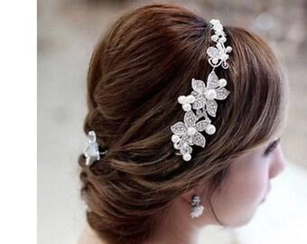 Wedding hair accessories, Bridal hair piece, wedding tiara, rhinestone and pearl hair piece , hair jewelry, wedding hair vine, tiara