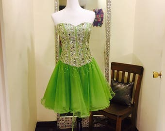 Lime Green Short Formal Dress, Sequins Top Dress, Short Formal Dress