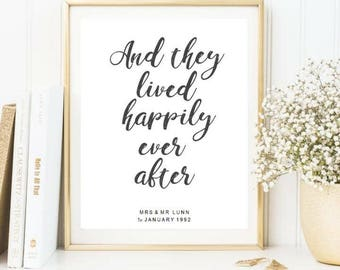 Happy ever after / wedding print : anniversary print \ personalsied happy print