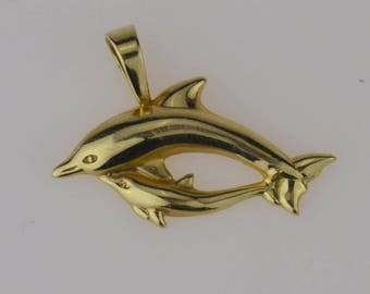 14k Yellow Gold Dual/double Dolphin Pendant(01823)