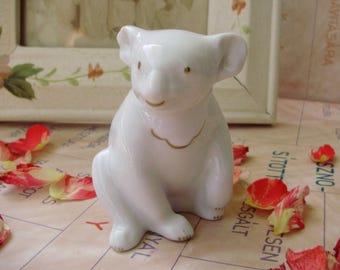 Rare,Vintage Hungarian porcelain animal figurine,GOLDPAINTED KOALA, stamped,handpainted