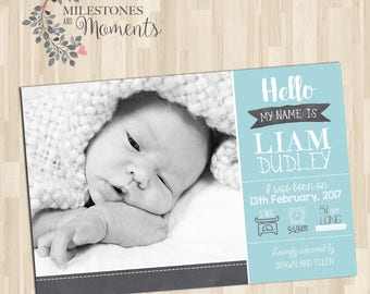 Photo Birth Announcement | Baby Birth Announcement | Baby Thank you Card | Boy Birth Announcement | Customised for you to print