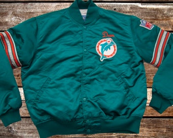 Vintage 90s Miami Dolphins Starter Teal Satin Bomber Jacket Size XL DAN For Fans of The Phins, Vintage Miami, Vintage Jackets, or the 1990s