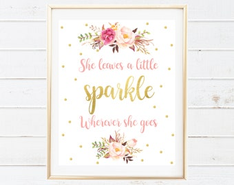 Gold Foil Confetti Printable Art - She Leaves a Little Sparkle Wherever She Goes - Watercolor Floral Nursery Print - Baby Nursery Printables
