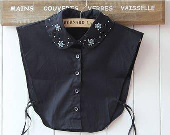Detachable collar black shirt - rhinestone - REF 1822