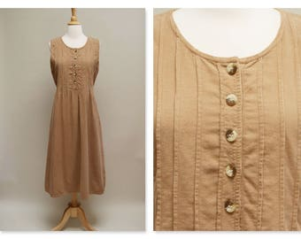 Vintage 80s Jumper  ⎮ 1980s Corduroy Dress ⎮ Brown Midi Boho Dress