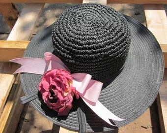 Floppy Black Straw Hat