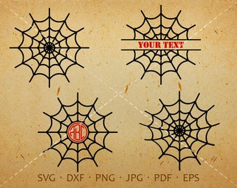 Spider Web SVG, Cobweb Monogram SVG, Web Clipart Shirt SVG Silhouette Cricut Cut Files Commercial and Personal Use - svg, dxf, eps, jpg, png