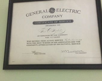 Antique General Electric Co. Service Award.