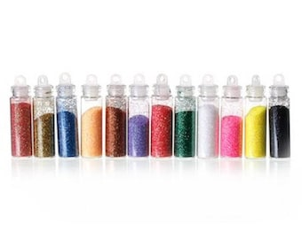 6 mini jars of glitter powder