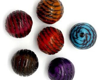 20 mixed pattern stripe 10 mm round acrylic beads