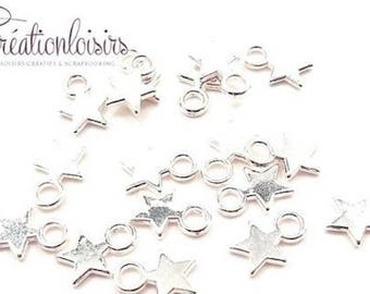 20 small star charm pendants charms silver color 11 x 9 mm
