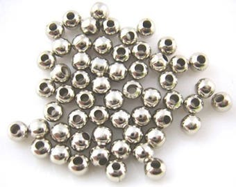Jewelry beads matte silver Intercalaires 100 smooth 4 mm