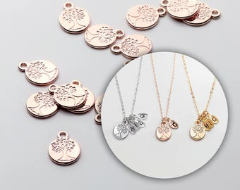 4 Pcs Rose Gold Family Tree Jewelry Charm Necklace Supply Coin Disc 4PCFT-R