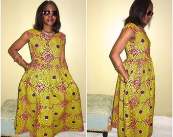 Yellow Dress/ African Dresses for Women/ Robe Wax/  Ankara Clothing/ Summer Dress